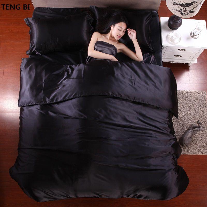 HOT! 100% pure satin silk bedding set,Home Textile King size bed set,bedclothes,duvet <font><b>cover</b></font> flat sheet pillowcases Wholesale