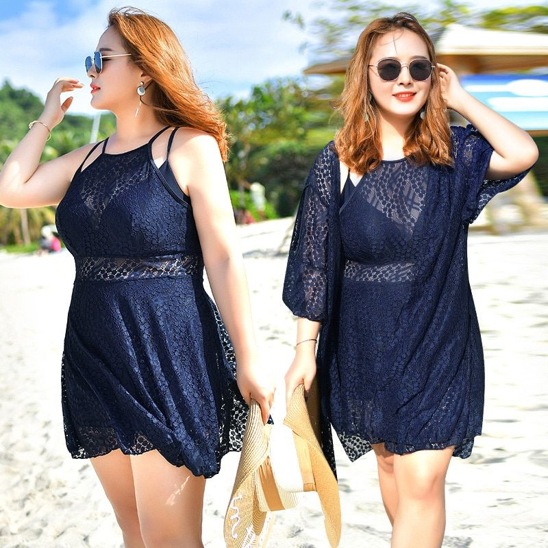 Sexy lace plus size swimsuit one piece swimwear solid 2 colos beachwear sunproof lace cover up high waisit bodysuit dress wrap