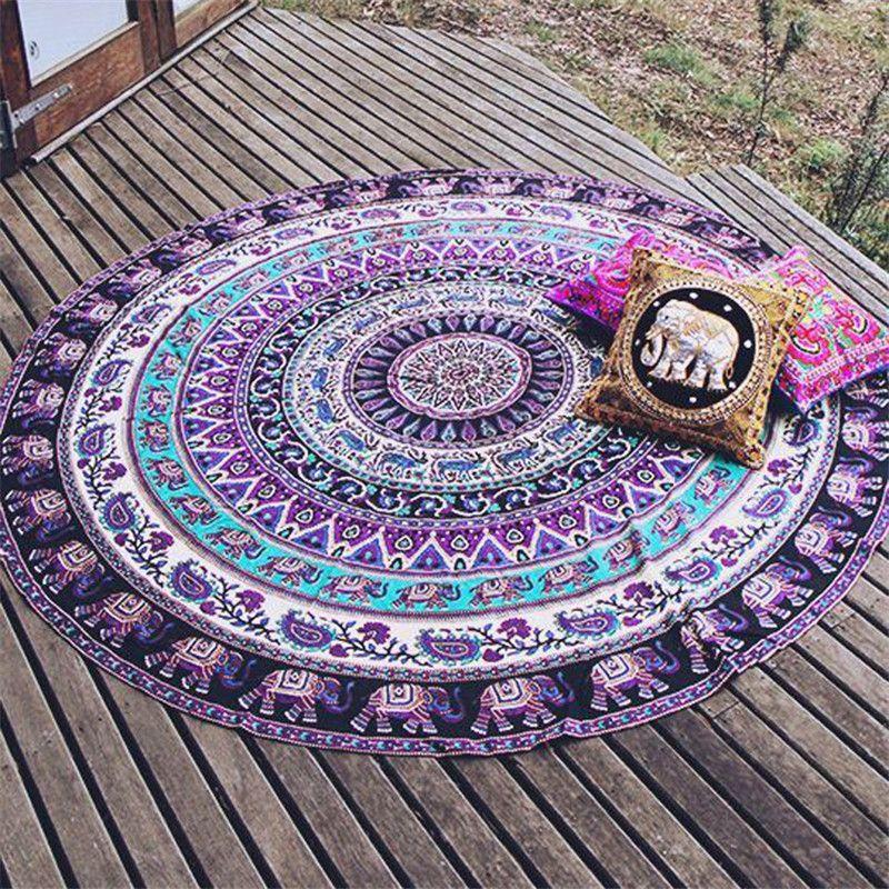 Indian Mandala Round Elephant Tapestry Wall Hanging Summer Beach Throw Towel Yoga Mat Boho Decorative 150Cm Round Beach Towel