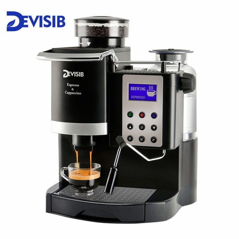 DEVISIB Professionelle Alle-in-One Automatische Espresso Kaffee Maschine Americano Maker 220 V/110 V mit Bean grinder und Milchaufschäumer