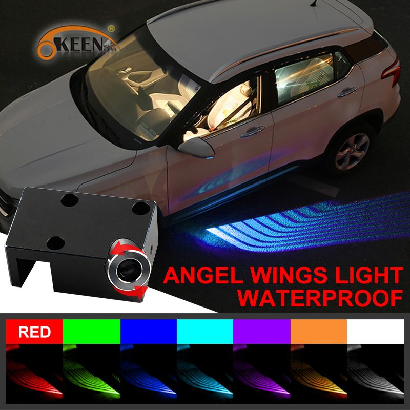 OKEEN Car Angel Wings lights LED welcome Car Door Projector Light Ghost Shadow Puddle 12V White /Red/Blue/ RGB fit all cars