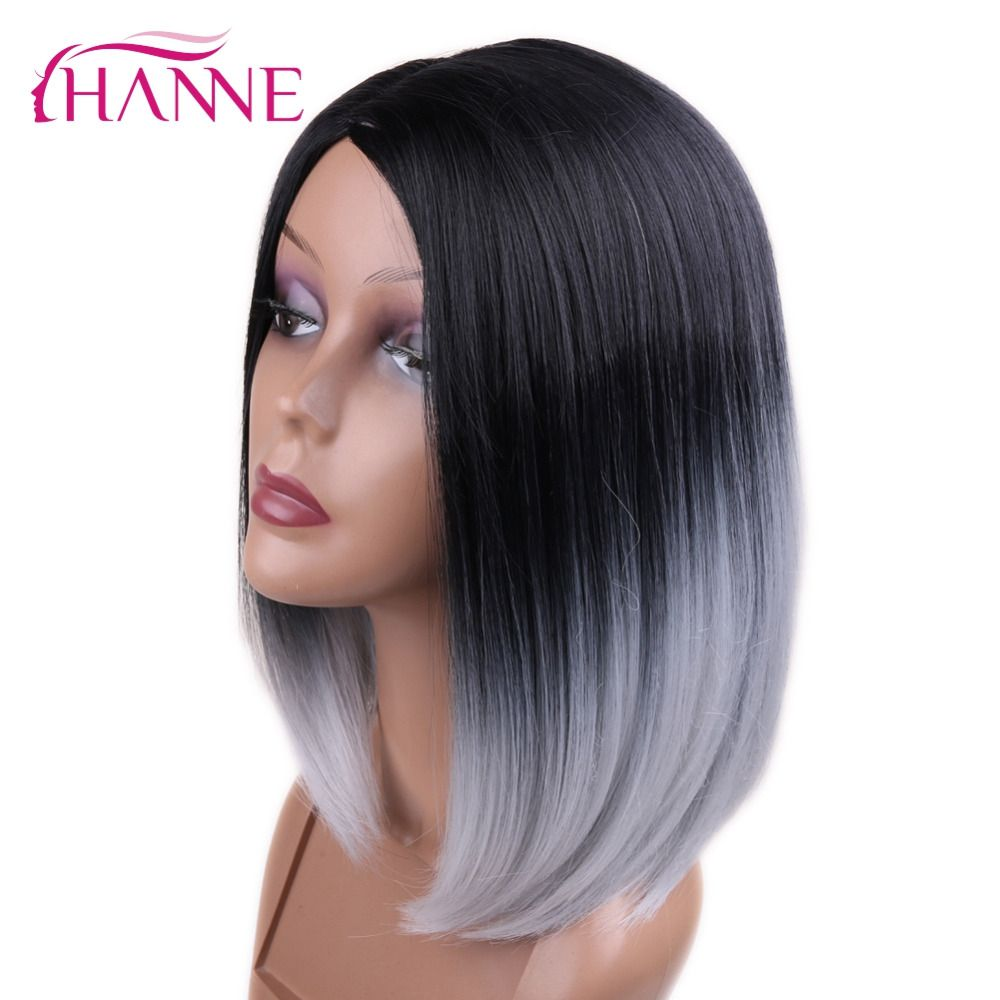 Ханне 2 тона черный к серому Ombre Цвет кожи Топ короткий прямой жаропрочных Синтетические волосы Для женщин Косплэй или вечеринки Боб искусст...