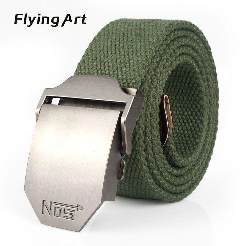 Hot male tactical belt Top quality 4 mm thick 3.8 cm <font><b>wide</b></font> canvas belt For men NO5 Automatic buckle Man extended 160 cm belts