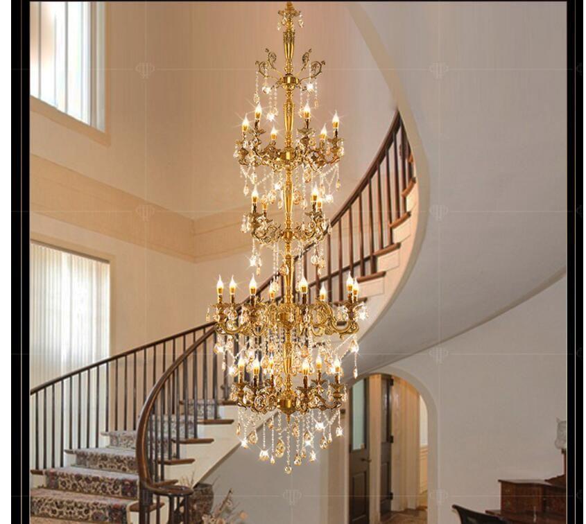 Messinglegierung Luxuriöse Europäischen D80cm H235cm Kronleuchter Moderne Kristall-kronleuchter/Licht/Leuchte AC 100% Garantiert