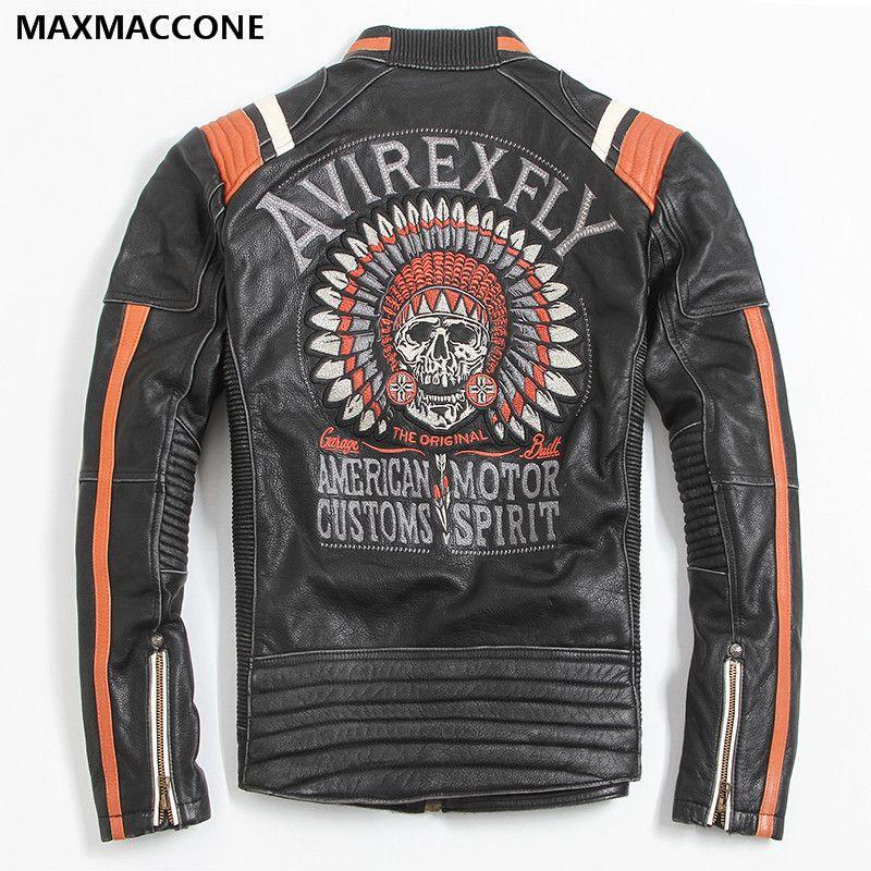 2018 Vintage Schwarze Männer Leder Motorradfahrer Jacke Schädel Stickerei Plus Größe 3XL Echtem Rindsleder Kurze Biker Mantel FREIES VERSCHIFFEN