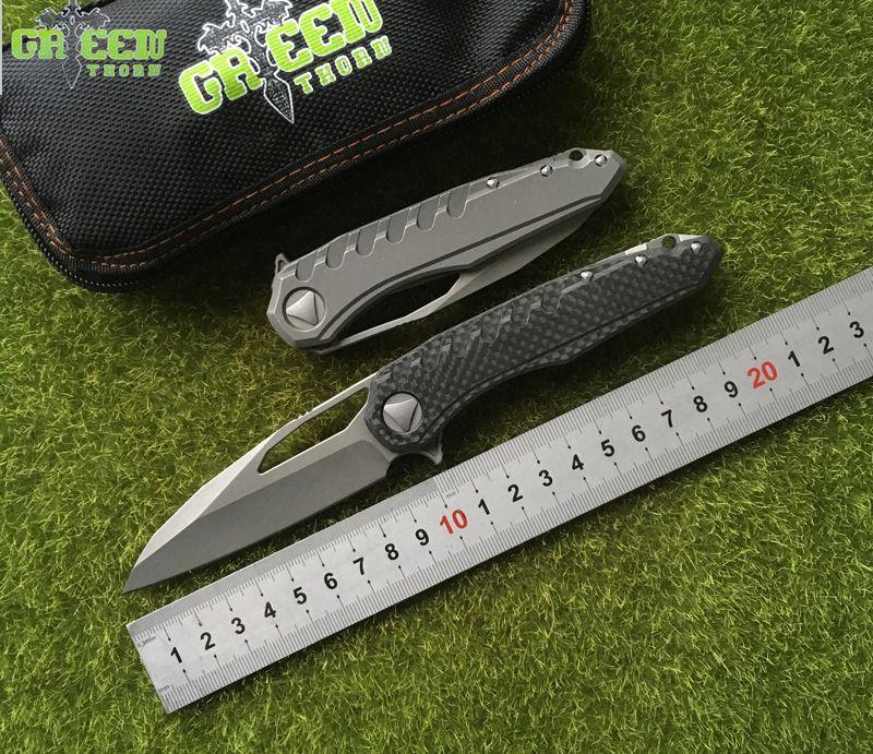 Green thorn Sigil MK6 Flipper Folding Knife M390 Blade CF Titanium Handle Common Hunting Outdoor Tactical Survival EDC tool