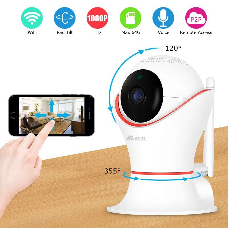 ARSECUT 1080P Wifi Camera Home Video Surveillance Camera IR Night Vision Security Camera Two-Way Audio Baby Monitor 1920*1080