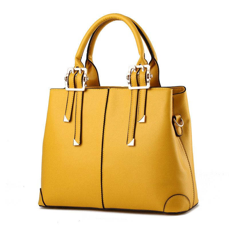 MONNET CAUTHY New Bags for Woman Elegant Classic Fashion Ladies Occident <font><b>Style</b></font> Handbags Solid Color Yellow Pink Green Red Totes
