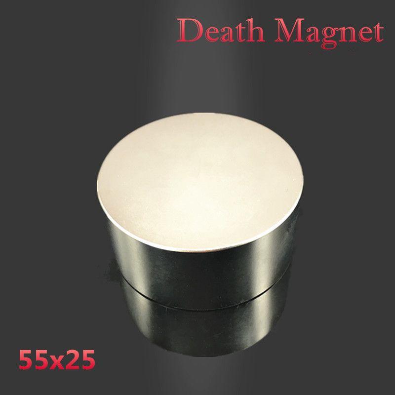 Aimant néodyme 55x25 N52 terre rare super forte puissante ronde de recherche de soudage magnétique permanent 55*25mm disque en métal gallium