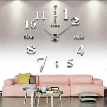 DIY Wall Sticker Clock 3D Big Mirror Clock Wall Stickers 2018 New Home Decoration Modern Design Wall Clocks Wall Sticker