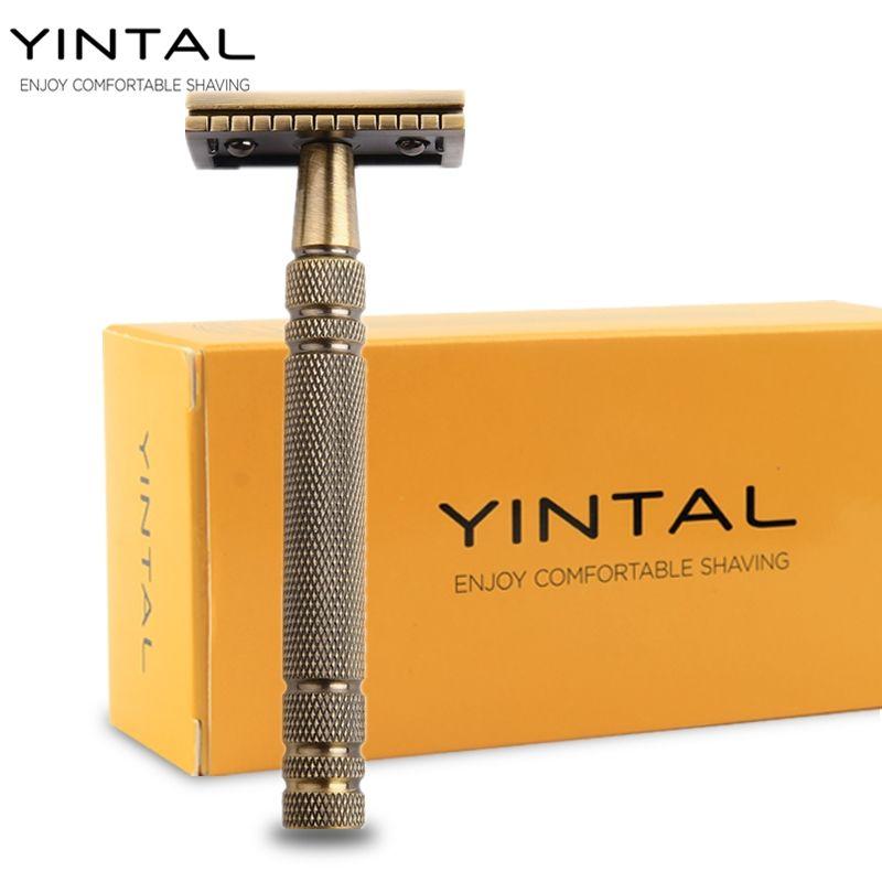 YINTAL Men's <font><b>Bronze</b></font> Classic Double-sided Manual Razor Long Handle Box Safety Razors Shaving 1 Razor Simple packing