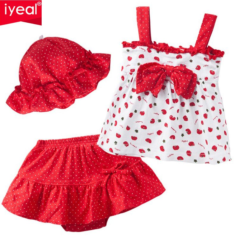 Iyeal Новая Детская летняя одежда для девочек Детский комплект хлопковая футболка + пачка Штаны + шляпа 3 шт. Малыш младенческой Одежда для ново...