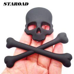 STAROAD Universel 3D Métal Crâne Avec Sanglante Os Emblème Badge autocollant Pour bmw ford toyota Auto Fender Tronc Queue Arrière décor