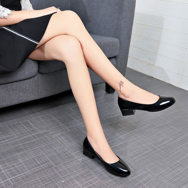 Fashion women work shoes square high heels women pumps comfortable black shoes