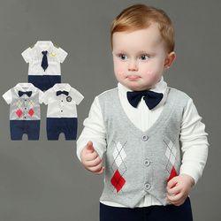 Newborn Baby Boy Rompers 100% Cotton Tie Gentleman Suit Bow Leisure Body Suit Clothing Infant Jumpsuit Toddler Boys Clothes