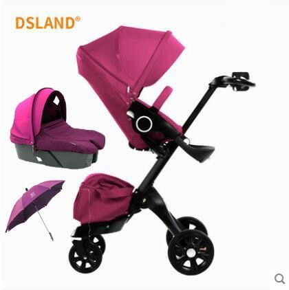 Free Shipping Baby Stroller High Land-Scape Stroller Luxury Baby Carriages Portable Folding Pram 2 in 1