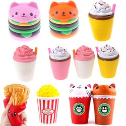 Slow Rising French Fries Soft Ice Cream Coffee Cup Scented Banana Stretch Donut Milk Box Kid Toy Funny Kawaii Bread Squishy