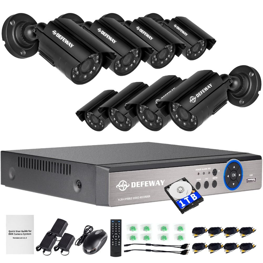 DEFEWAY 720P HD 1200TVL Outdoor Security Camera System 1080P HDMI CCTV Video Surveillance 8CH DVR Kit 1TB HDD AHD Camera Set