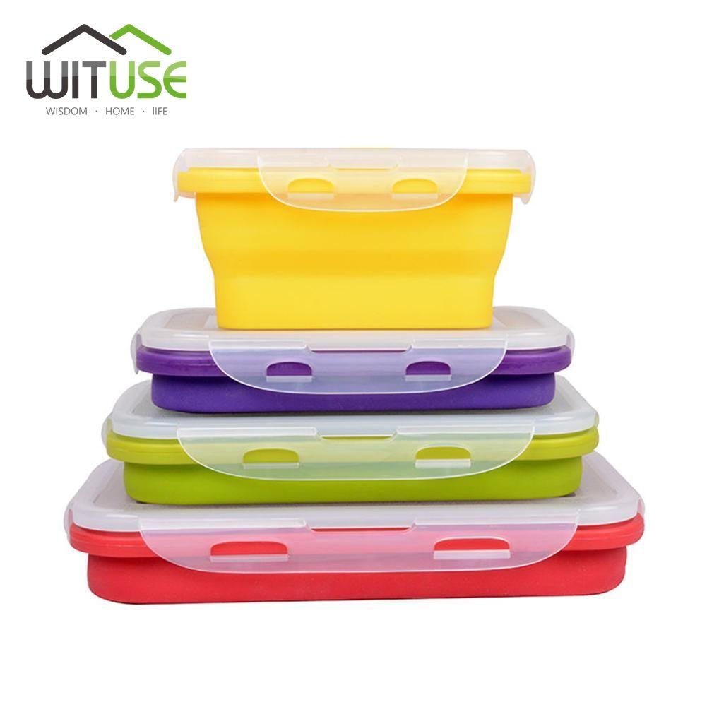 WITUSE Silicone Pliable Portable Boîte À Lunch Bol Bento Boîtes Pliantes Alimentaire Conteneur De Stockage Boîte À Lunch 350-1200 ml Écologique