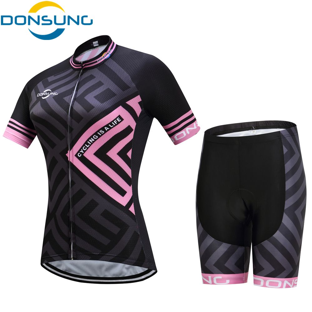 DONSUNG Women Cycling Jersey Set Bike Team Cycling Clothes Short Sleeve Full Zipper GEL Breathable Pad Quick Dry bike Clothing