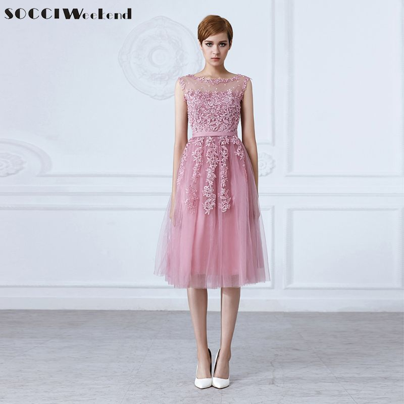 SOCCI Tulle Lace Appliques Short Cocktail Dresses Zipper Back A-line Formal Wedding Party Dress Pearls Beading Reception Gowns