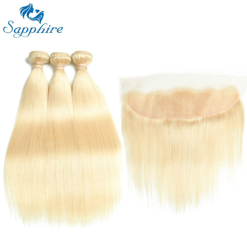 Sapphire Remy Hair 613 Blonde Hair With Closure Malaysian Hair Straight 3 Bundles with Closure Human Hair Weave Bundles Deal