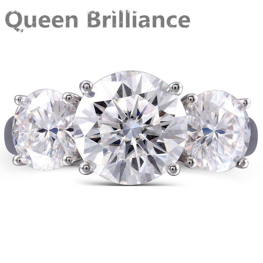 Queen Brilliance 5 ctw F Color Lab Grown Moissanite Diamond Engagement Ring Wedding Band Solid 14K 585 White Gold For Women
