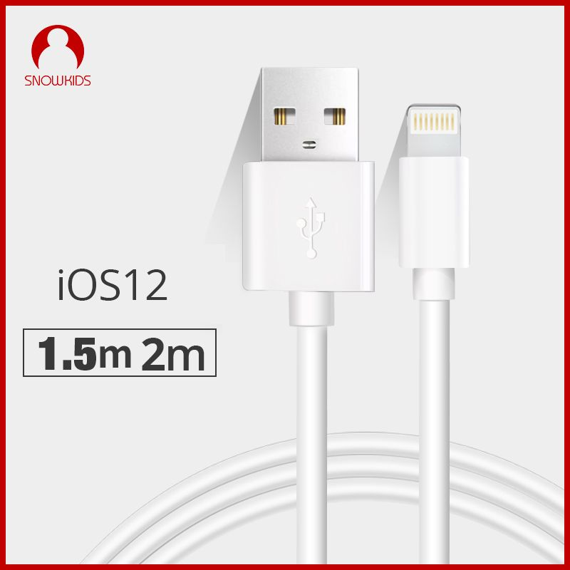 Snowkids 1.5 m 2 m USB câble chargeur 2 pièces pour iPhone X 8 7 6 5 XR XsMax pour la foudre à USB Charge rapide jusqu'à iOS12