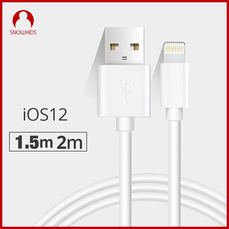 Snowkids 1.5 m 2 m câble usb Chargeur 2 Pièces pour iPhone X 8 7 6 5 XR XsMax pour La Foudre à USB charge rapide Jusqu'à iOS12