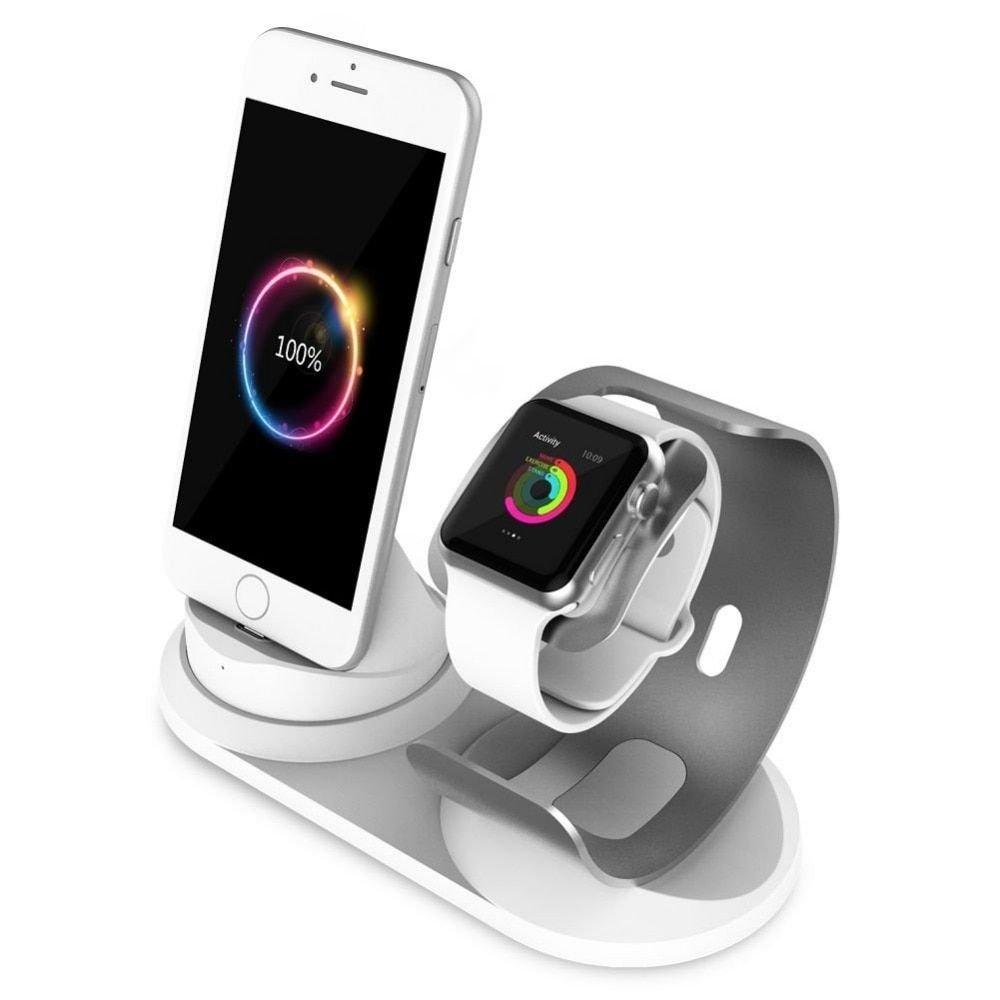 2 in 1 Charging dock for Apple Watch 3/2/1 popular Aluminum charger stand phone holder charge station for iPhone 8