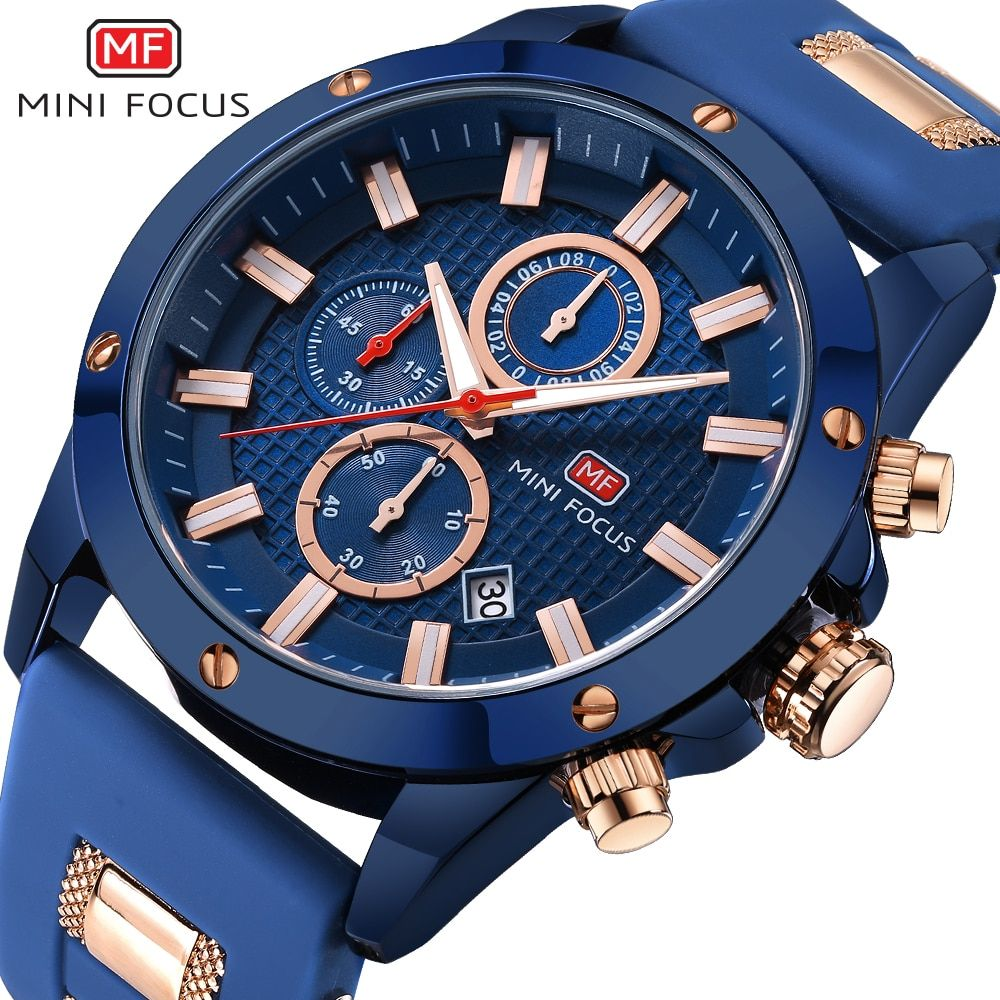 2018 Men's Fashion Sport Watches MINIFOCUS Men Quartz Analog Date Clock Man Silicone Military Waterproof Watch Relogio Masculino