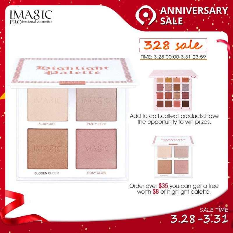 IMAGIC Surligneur palette de poudre Shimmer Le Contour Du Visage Point Culminant Visage Bronzer Maquillage 4 Couleurs Surligneur Éclairer La Peau