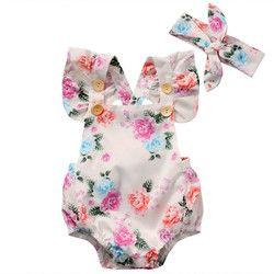 2017 À La Mode Vente Chaude 2 PCS Adorable Ensemble Bébé Filles Floral Body One-pieces Arc Bandeau D'été Vêtements Sunsuit ensemble