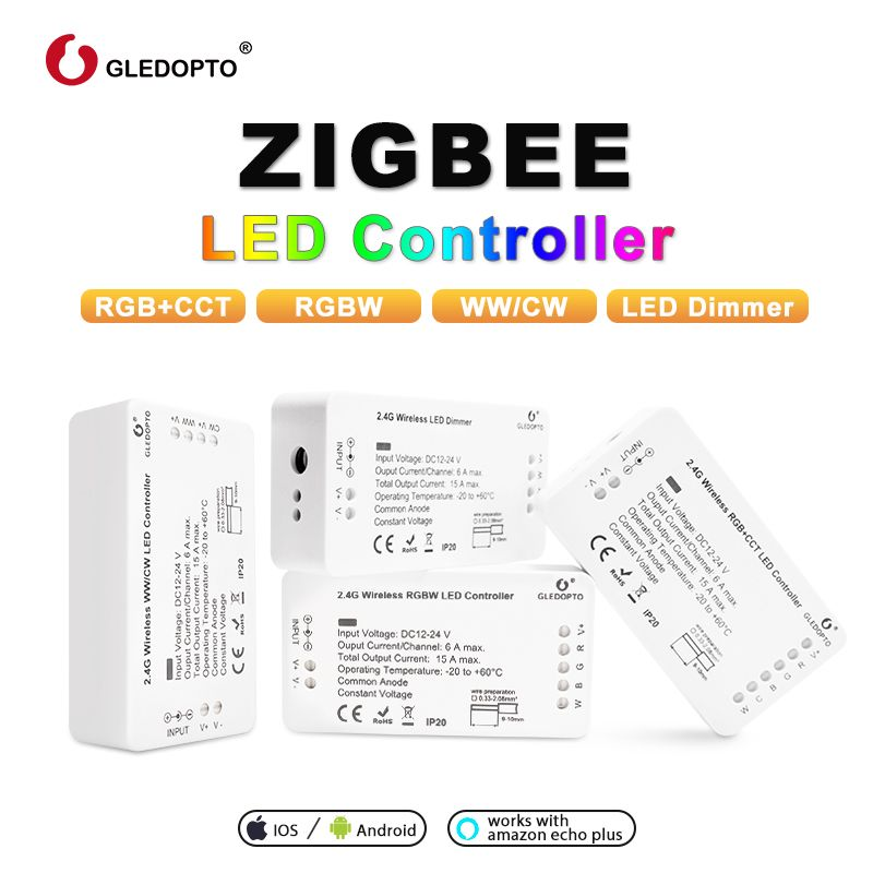 ZIGBEE  Led  Controller  Echo compatible LED controller RGB+CCT/WW/CW zigbee controller LED Dimmer DC12-24V ZLL controller led