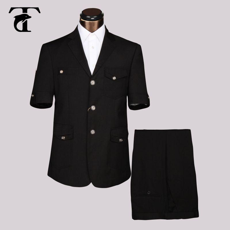 Лето 2016 короткий рукав блейзер Мужской офисные форма Дизайн Гар Для мужчин t фабрика фантазии Костюмы для Для мужчин одежда Костюм