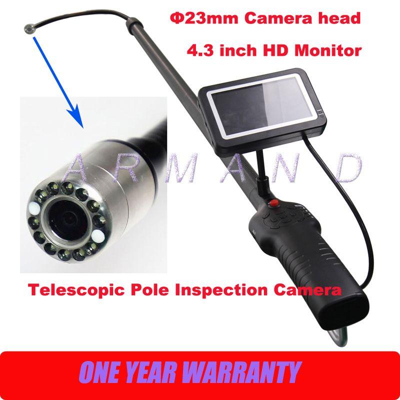 Telescopic Pole Inspection Cameras Carbon Fiber Light Weight Flexible 23mm camera Industrial Endoscope