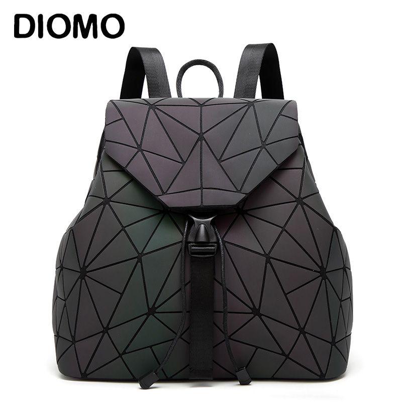 Women Backpack Luminous Geometric Plaid Sequin Female Backpacks For Teenage Girls Bagpack Drawstring Bag Holographic Backpack
