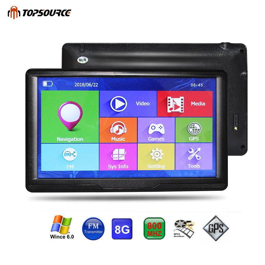 TOPSOURCE Car GPS Navigation 7 Inch HD Touch Screen ce6.0 8GB gps navigator map for navitel/ espanol/uk/Europe/USA/spanish