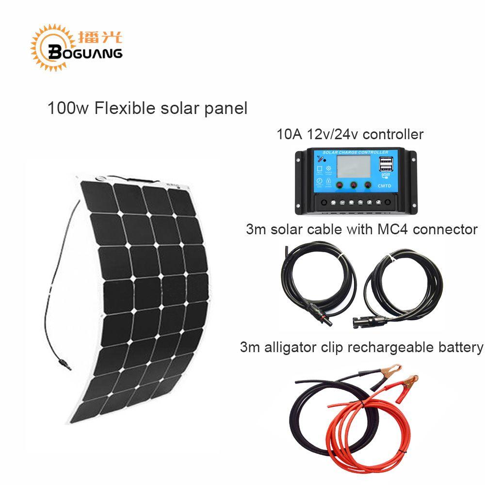 BOGUANG 100W DIY Boat Kits Solar cells System 100W PV flexible solar panel 10A solar controller 3M MC4 cable clip energy panels