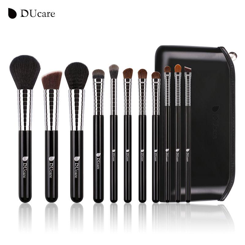 DUcare Nouveau Maquillage Professionnel Brush Set 11 pcs de Haute Qualité Maquillage Outils Kit avec Top En Cuir Sac Virole En Cuivre