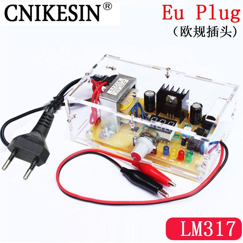 CNKESIN DIY Kit EU plug LM317 1.25V-12.5V Adjustable <font><b>Regulated</b></font> Voltage Step-down Power Supply Suite Module 220V