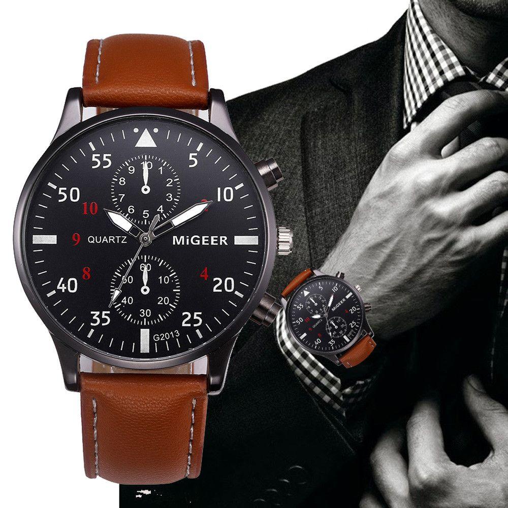 Retro Design Leather Band Watches Men Top Brand Relogio Masculino 2017 NEW Mens Sports Clock Analog Quartz Wrist Watches #Zer