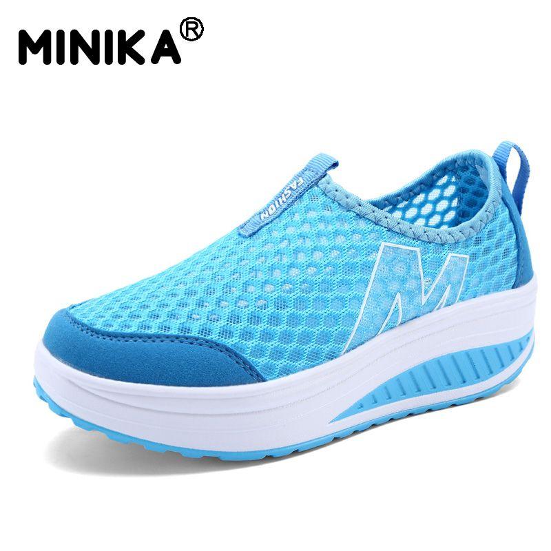 Minika altura aumento verano Air Mesh Zapatos casual Zapatos moda Zapatos para caminar mujer swing wedges Zapatos transpirable