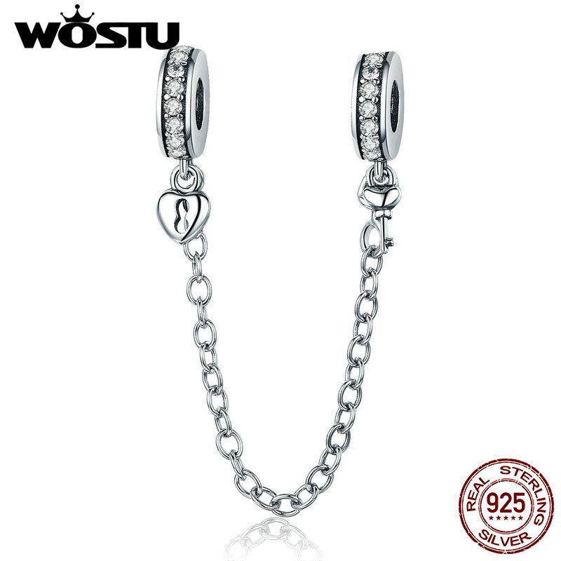 Heißer Verkauf 100% 925 Sterling Silber Die Schlüssel zu Herz Silicon Sicherheit Kette Charme Fit Wostu Original Perlen Armband Schmuck CQC606