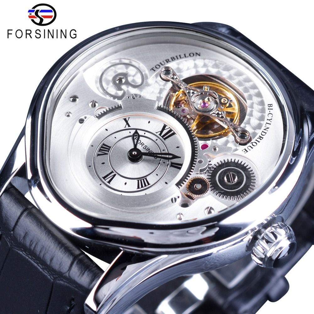 Forsining Silver Case Fashion Tourbillion Genuine Leather 2017 Fashion Luxury Design Men Watch Top Brand Automatic Wristwatch