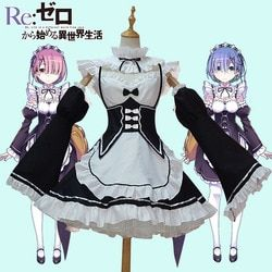 Anime Re:zero Kara Hajimeru Isekai Seikatsu Life In a Different World Ram Rem Cosplay Costume Maid Dress Halloween Costume