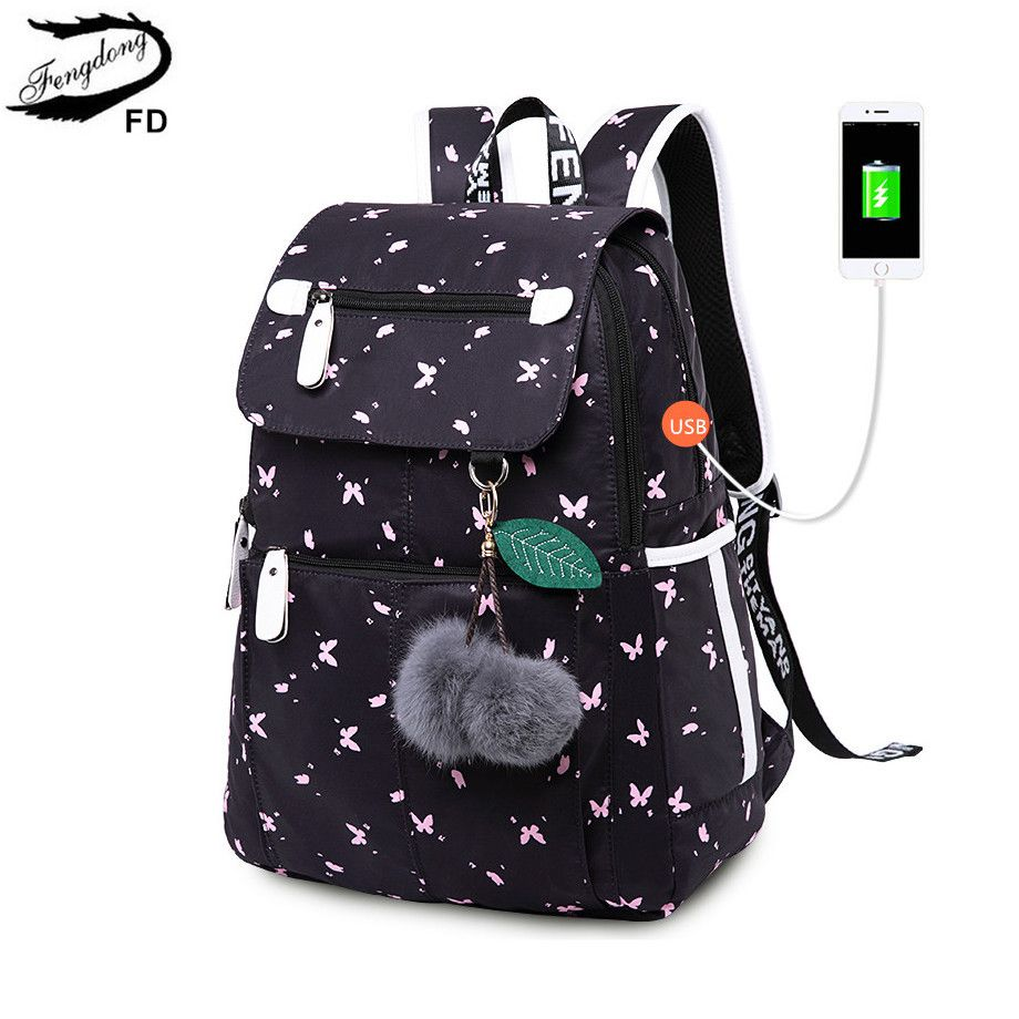 FengDong female fashion school backpack usb school bags for girls black backpack plusch ball girl schoolbag butterfly decoration