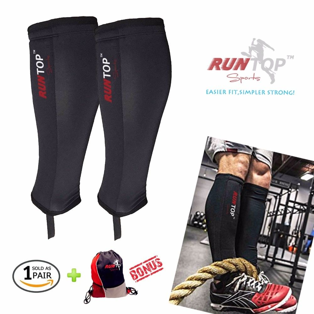 RUNTOP 5mm Neoprene Shin Guards Sleeves Shields Calf Protector Compression for Crossfit WODS Weight Lifting Box Jump Rope Climbs