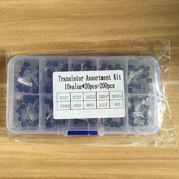 BC337 BC327 2N2222 2N2907 2N3904 2N3906 S8050 S8550 A1015 C1815 Transistor Assortiment Kit 10 valeur = 200 PCS, Transistors + boîte Pack