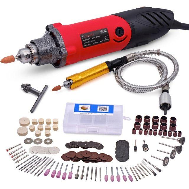 240 W Électrique Mini Drill Vitesse Variable Multi-fonctionnelle Outils Rotatifs avec 141 pcs Kit pour DREMEL Style Avec arbre Flexible